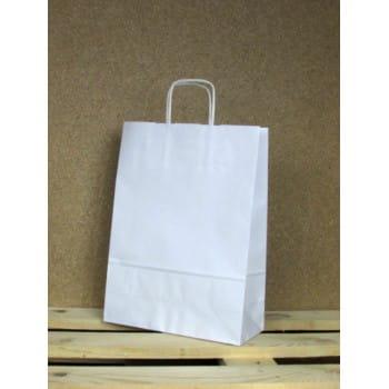 Torba papierowa biała 24x32x10 cm uchwyt papierowy skręcany