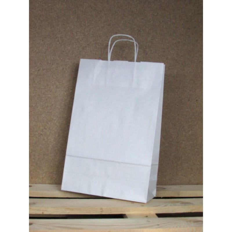 Torba papierowa biała 24x36x10 cm uchwyt papierowy skręcany