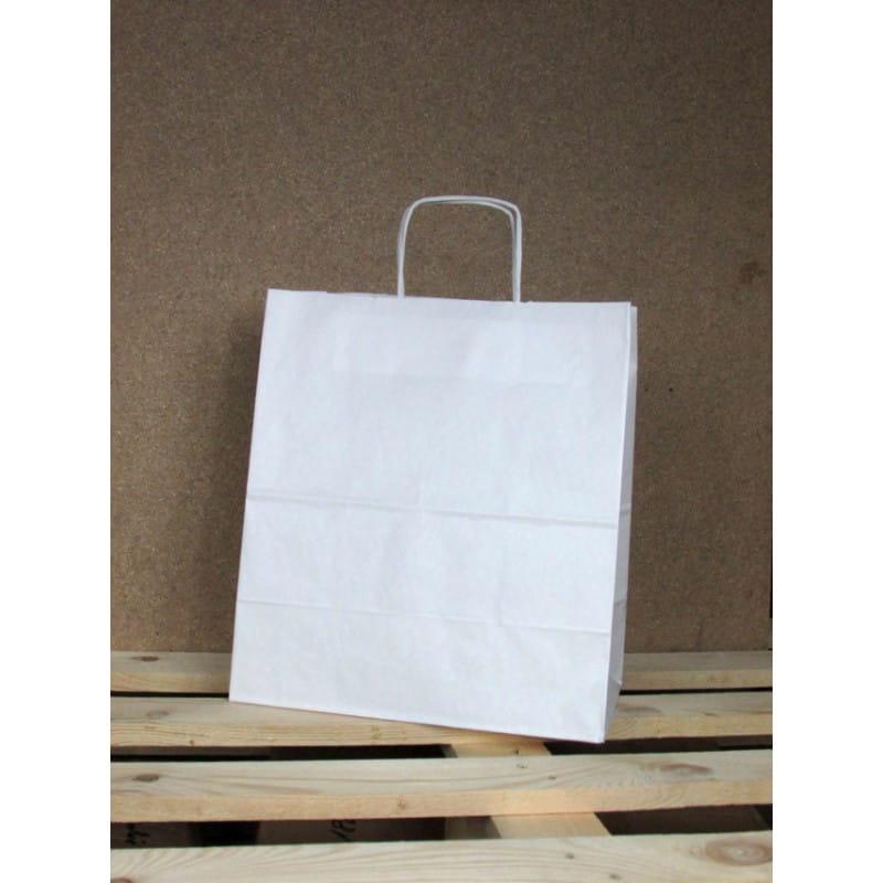 Torba papierowa biała 30,5x34x17 cm uchwyt papierowy skręcany