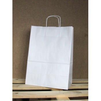 Torba papierowa biała 30,5x42,5x17 cm uchwyt papierowy skręcany