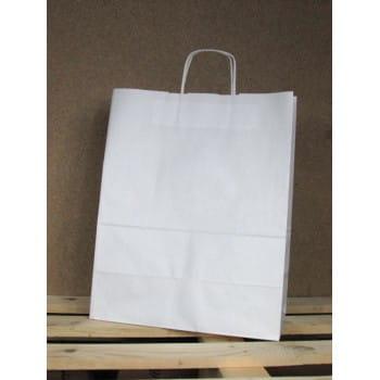 Torba papierowa biała 34x33x20 cm uchwyt papierowy skręcany