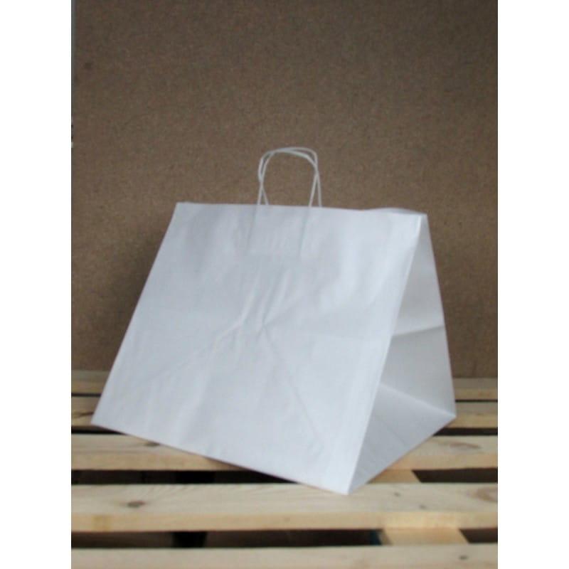 Torba papierowa biała 36x33x32 cm uchwyt papierowy skręcany