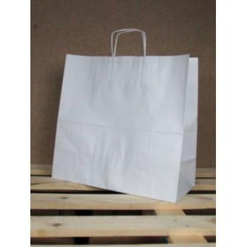 Torba papierowa biała 40x39x18 cm uchwyt papierowy skręcany