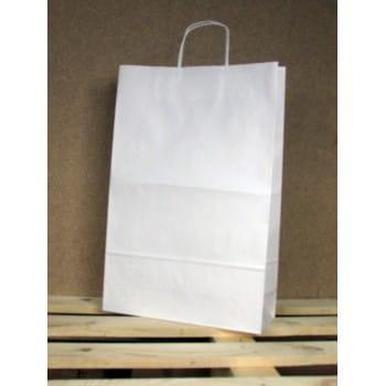 Torba papierowa biała 33x50x12 cm uchwyt papierowy skręcany