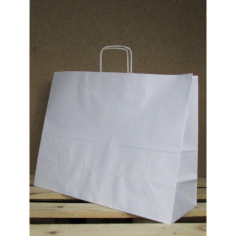 Torba papierowa biała 50x39x18 cm uchwyt papierowy skręcany